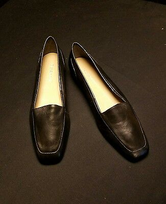 ENZO ANGIOLINI -8N Narrow- Black Leather Square Toe SLIP ON Low DRESS LOAFERS