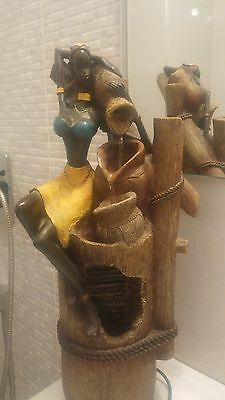 """Indoor Waterfall Table/Desk-Top Water jug Fountain woman 47cm/ 18"""" African Style"""
