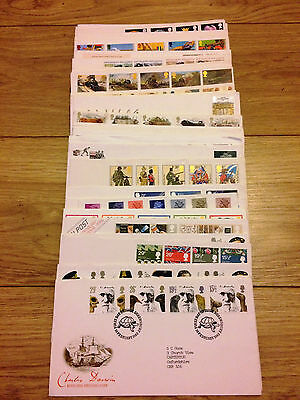 Job Lot of 54 UK GB FDC's First Day Covers from 1982 to 1987 Lot #A56