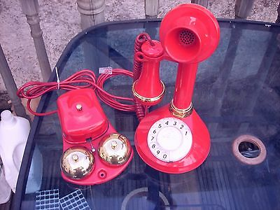 Vintage Original Gpo  Candlestick Telephone In Red + 64 D Bell Wonderful Item