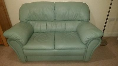 Leather 2 seater sofa in duck egg / mint