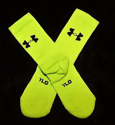 1 pair Under Armour GREEN Crew socks Youth boys girls YLG LARGE