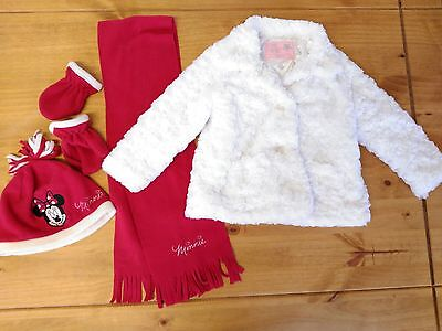 Girls White Fur Winter Coat with Minnie Mouse Accessories 2-3 Years