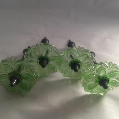 Antique Vintage Victorian Green Glass Curtain Tiebacks Set of Four Rare Color
