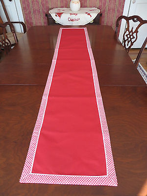 """Natural Fiber TABLE RUNNER 13"""" x 72"""" - COUNTRY CHRISTMAS Red w Gingham Check"""