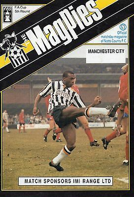 Football Programme, F.A Cup Fifth Round, Notts County/ Manchester City 1991