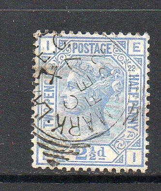 QV USED SG157 21/2d BLUE PLATE 22