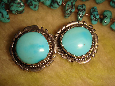 Vintage Old Pawn Navajo Sterling Silver & 'sleeping Beauty' Turquoise Earrings F