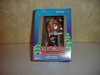 Rudolph The Red Nosed Reindeer Hand Crafted Glass Ornament Hermey