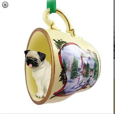 Victorian Trading Co Pug in Tea Cup Christmas Ornament
