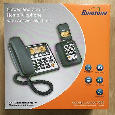 Binatone Concept Combo 3525 Twin Corded & DECT Combo Phone Brand New