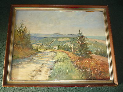 Original Landscape Suburb View Trees Oil Painting on Board - Framed & Signed