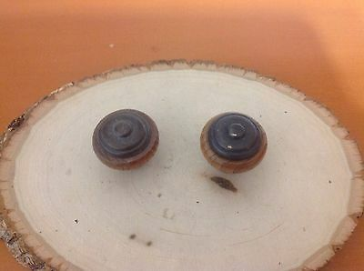 006X2 VTG Large Wooden Knobs With Metal Inserts. Set Of Two
