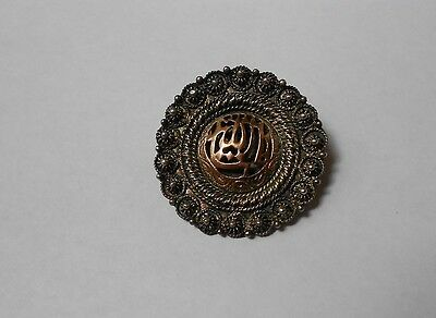 ANTIQUE GOLD & SILVER BROOCH with ARABIC INSCRIPTION. no reserve.