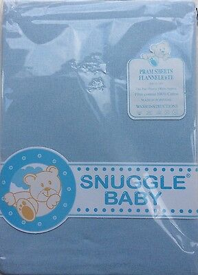 Snuggle Baby Pair Of Pram Flannelette Sheets Pale Blue