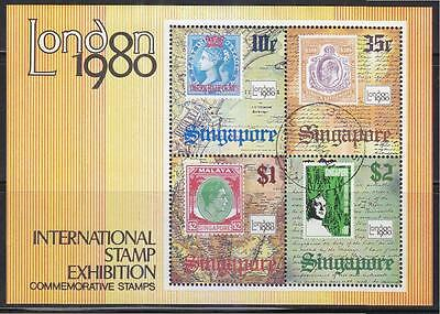 Singapore 1980 London 1980 Int'l Stamp Exhibition Souvenir Sheet Of 4 Stamp Used