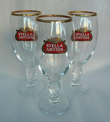 Three Stella Artois Pint Glasses / Chalice Style -New- Ideal For Home Pub - Bar