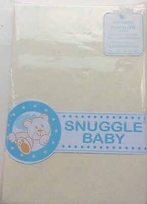Snuggle Baby Pair Of Cot Flannelette Sheets Soft Cream