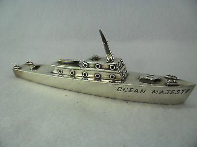 Unusual Solid Silver Novelty Cruise Ship Model