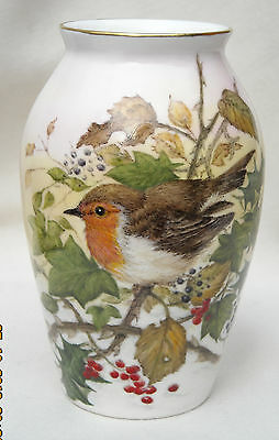 Hand Painted Bone China Collectable Vase - 'Robin in Holly'