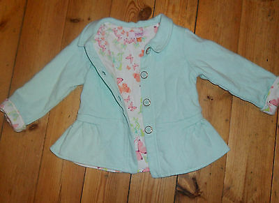 Girls Age Size 2 to 3 TED BAKER Mint Green Quilted Floral Lining Coat Jacket
