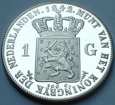 1 gulden 1842 Willem II herslag, UNC. 1 guilder 1842 reproduction. see pictures.