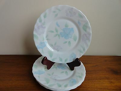 "4 Arcopal France Chloe Salad Plates 7 3/4"" Scalloped Pink Blue Flower Shabby"
