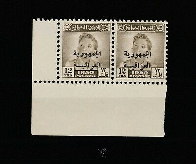IRAQ , King Fisal II 1958 Ovep. Iraqi Republic on 12 Fils SG# 419 - PAIR - MNH