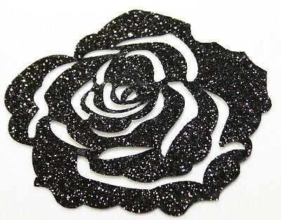 Rose noire Glitter 7 cm Patch thermocollant hotfix custom