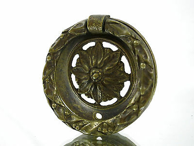 1 Vintage Brass Flower Round Dresser Drawer Cabinet Handle Pull Hardware Ornate