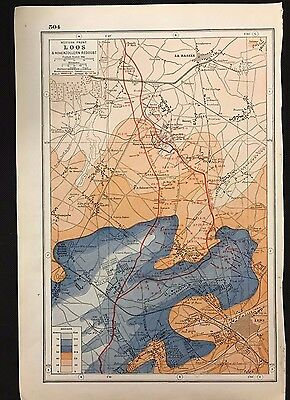 Vintage Map, WW1 Western Front, Loos & Hohenzollern Redoubt - Harmsworth's Atlas