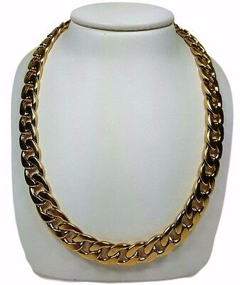 "Men's Stainless Steel Cuban Link 26"" Chain Necklace 14K Gold Plated 11mm Thick"