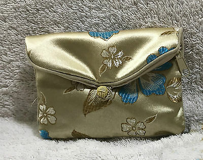 Honora Collection Satin Floral Jewelry Coin Money Pouch Bag
