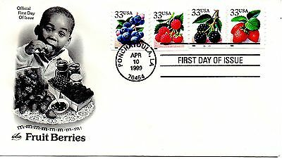 US FDC #3302-3305 Berries PNC Plate B1111, ArtCraft (4641)
