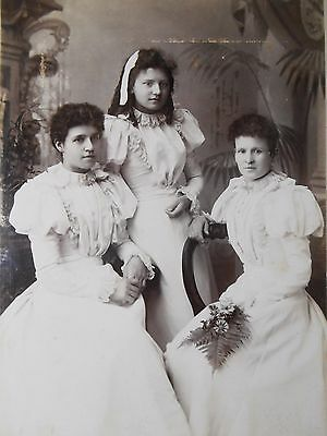 ANTIQUE Cabinet Card Photo BEAUTY LADY FAMILY GROUP WHITE LACE DRESS CHELTENHAM