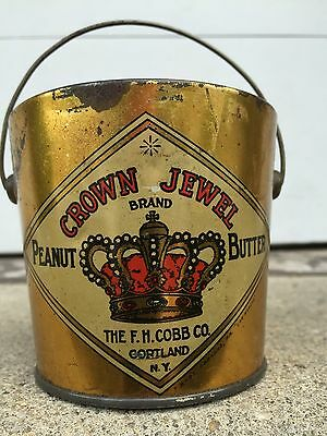Antique Vintage Crown Jewel FH Cobb Peanut Butter Tin Country Store