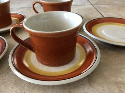 Imperial By W. Dalton Stoneware 5 Cups & 6 Saucers Tangerine Japan
