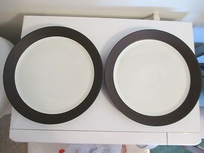 "2 Vtg Dansk FLAMESTONE SMOOTH BROWN WHITE Dinner Salad Plate 10 3/4"" Denmark"
