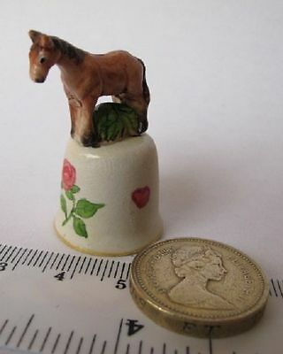 Unique Rare Handmade Hand painted HORSE ROSE Collectable  THIMBLE Clay %