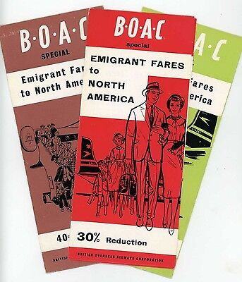 Boac Airlines North America Emigrant Fares Triple Set 1950's Vintage