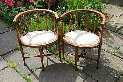 Pair of Edwardian tub corner chairs