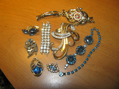 Vintage Rhinestone Bracelet Brooch and Earring Lot for Parts Crafts Repair