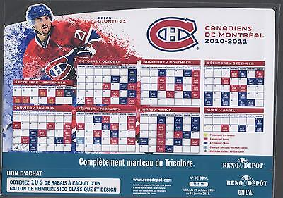 2010-11 Montreal Canadiens Nhl Magnet Schedule