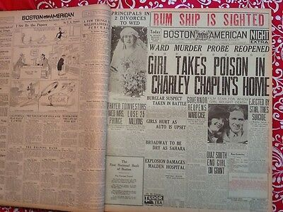 4/2/1923 BOSTON AMERICAN 1 Page Girl Poison Charlie Chaplin RUM SHIP IS SIGHTED