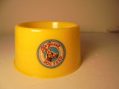 Vintage 1950's Life Guard Dog Feed Food Bowl Bright Yellow Plastic Advertising