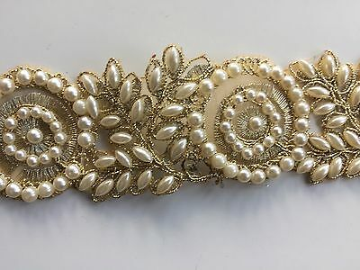 ATTRACTIVE INDIAN PEARLS CIRCLES AND FLORAL MIRRORS TRIM/LACE - Sold By METER