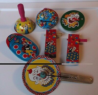 Vintage Tin Noise Makers Noisemakers ~ Made in Japan ~ Great Color and Pictures