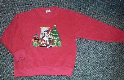 WARNER BROS Cartoon Red Fleece Holiday Sweatshirt Kids LARGE