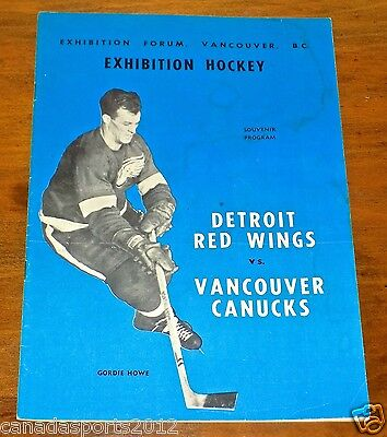 Detroit Red Wings Vs Vancouver Canucks Whl 1959 Game Program Gordie Howe