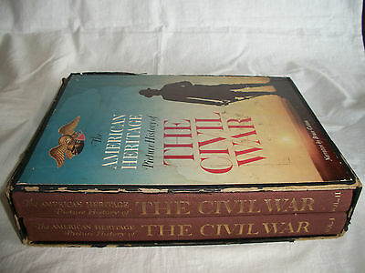 1960 American Heritage Picture History Of Civil War 2 Volumes + Chronology Book